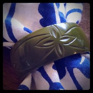 Carved floral green lucite bangle